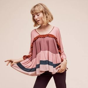 Anthropologie Pink Colorblock Tiered Blouse